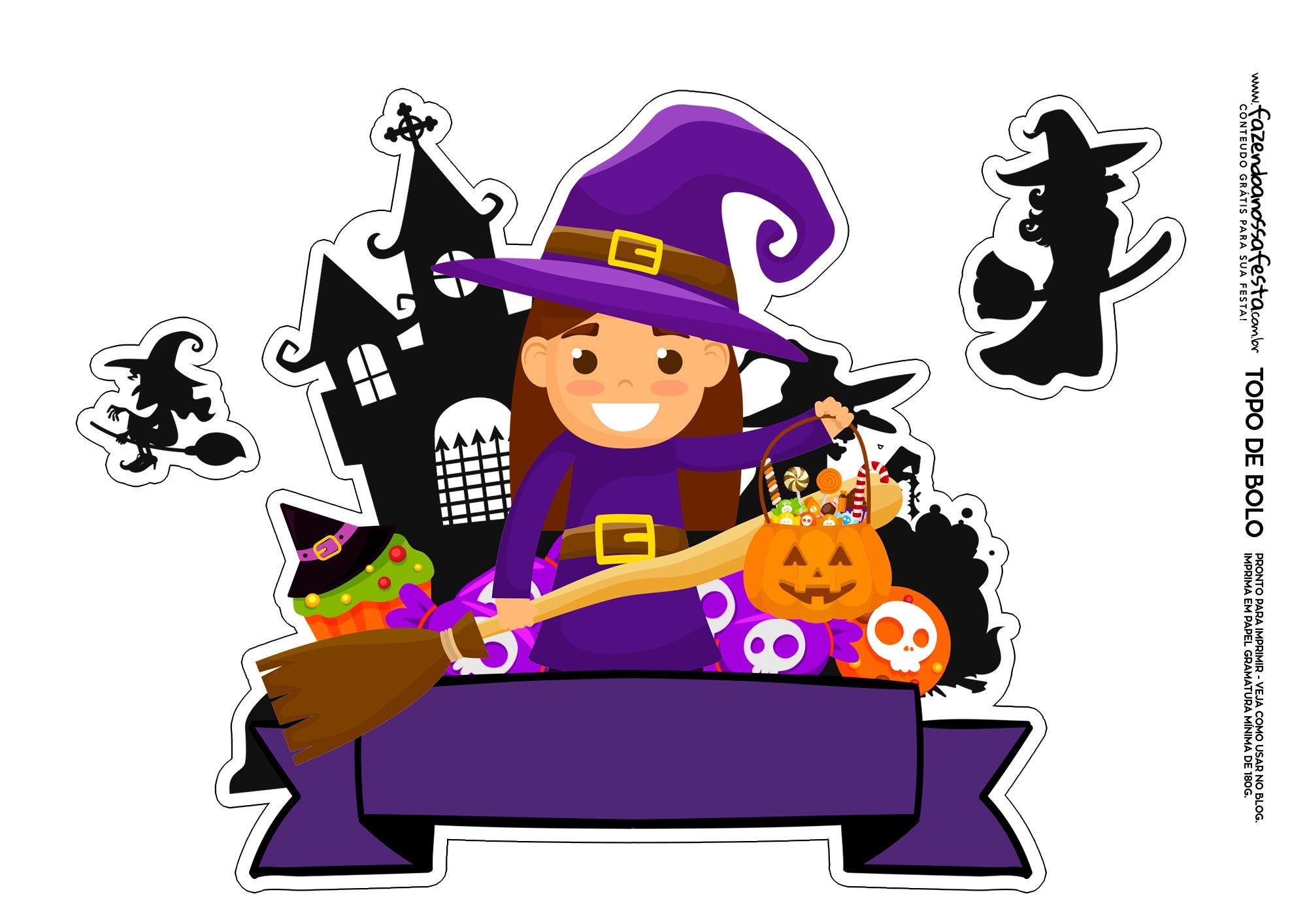 Topo de bolo Halloween Bruxa 5