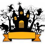 Topo de bolo Halloween Castelo 2