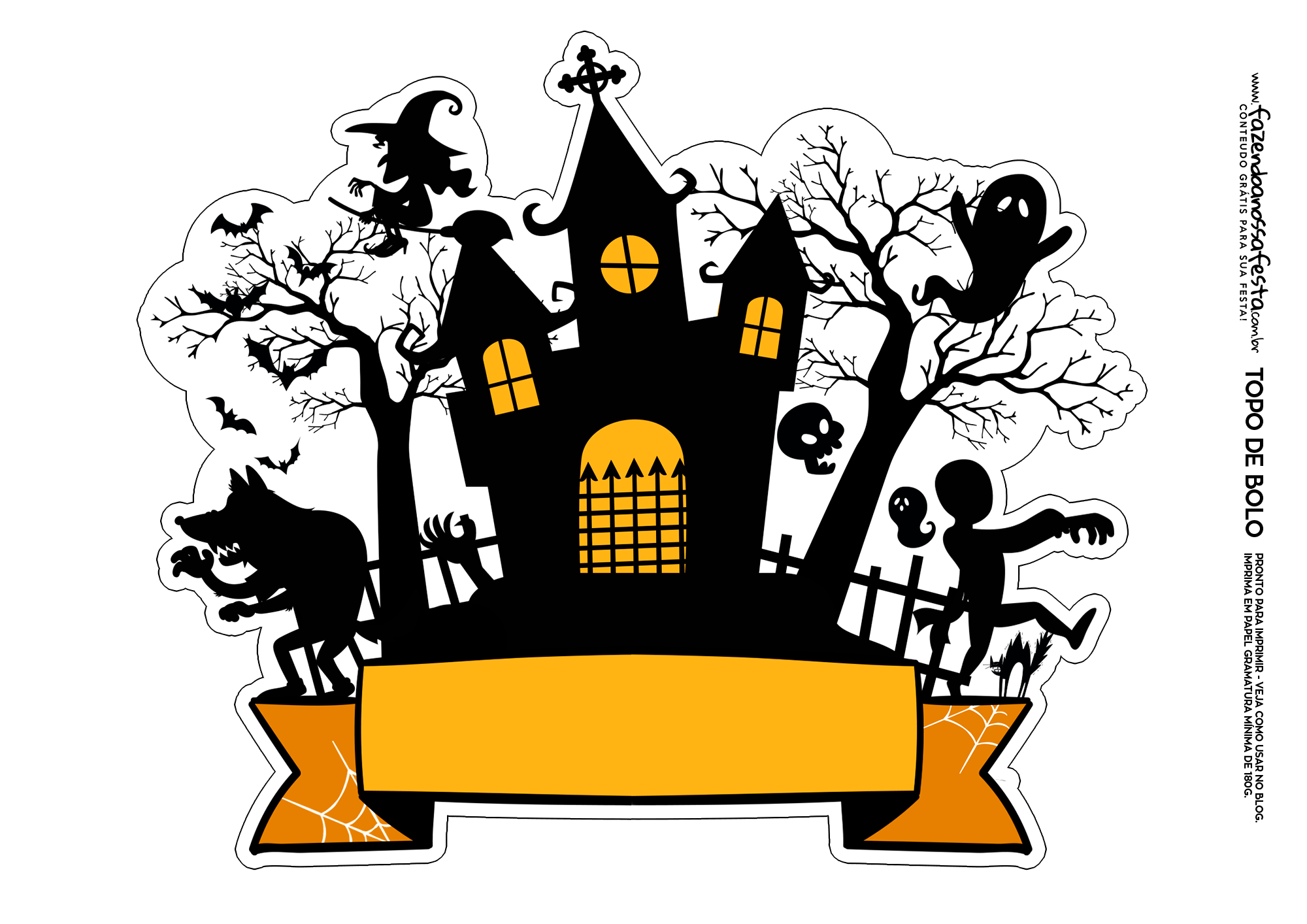 Topo De Bolo Halloween Castelo 2 Fazendo A Nossa Festa