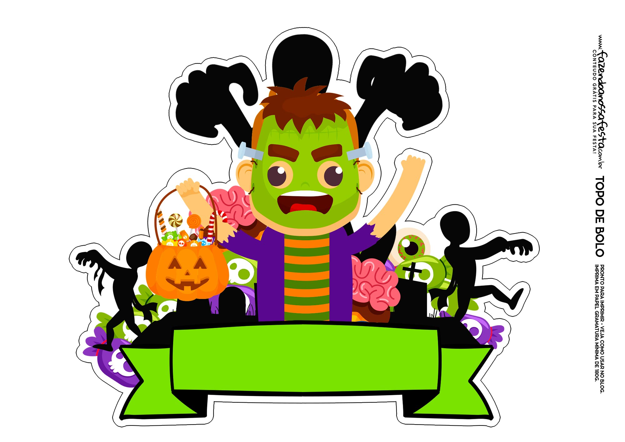 Topo de bolo Halloween Frank 4