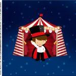 caixa de acrilico adesivo personalizado Circo Menino