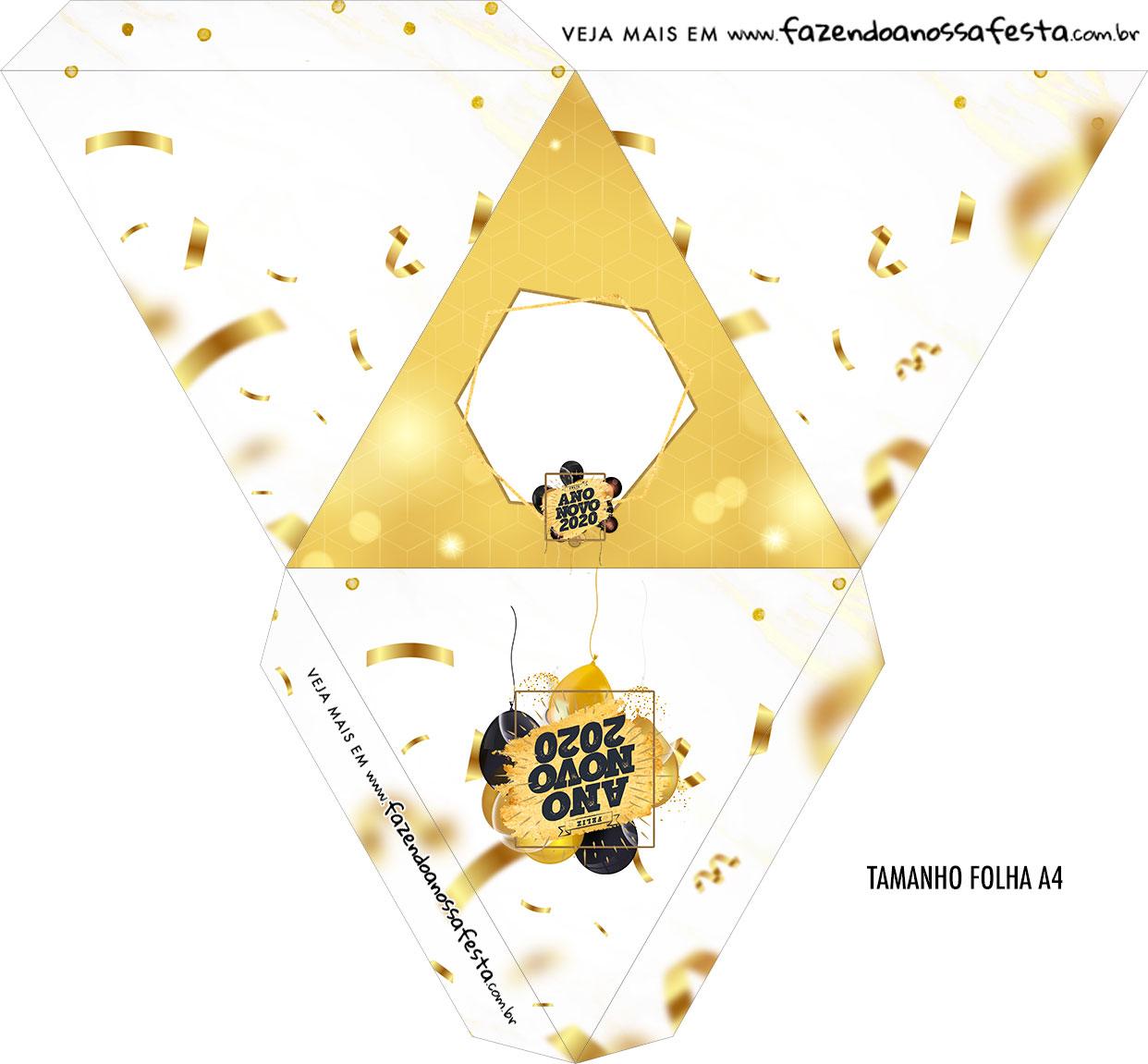 Caixa Piramide Personalizada Ano Novo 2020