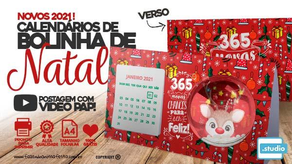Calendário 2021 com Bolinha de Natal