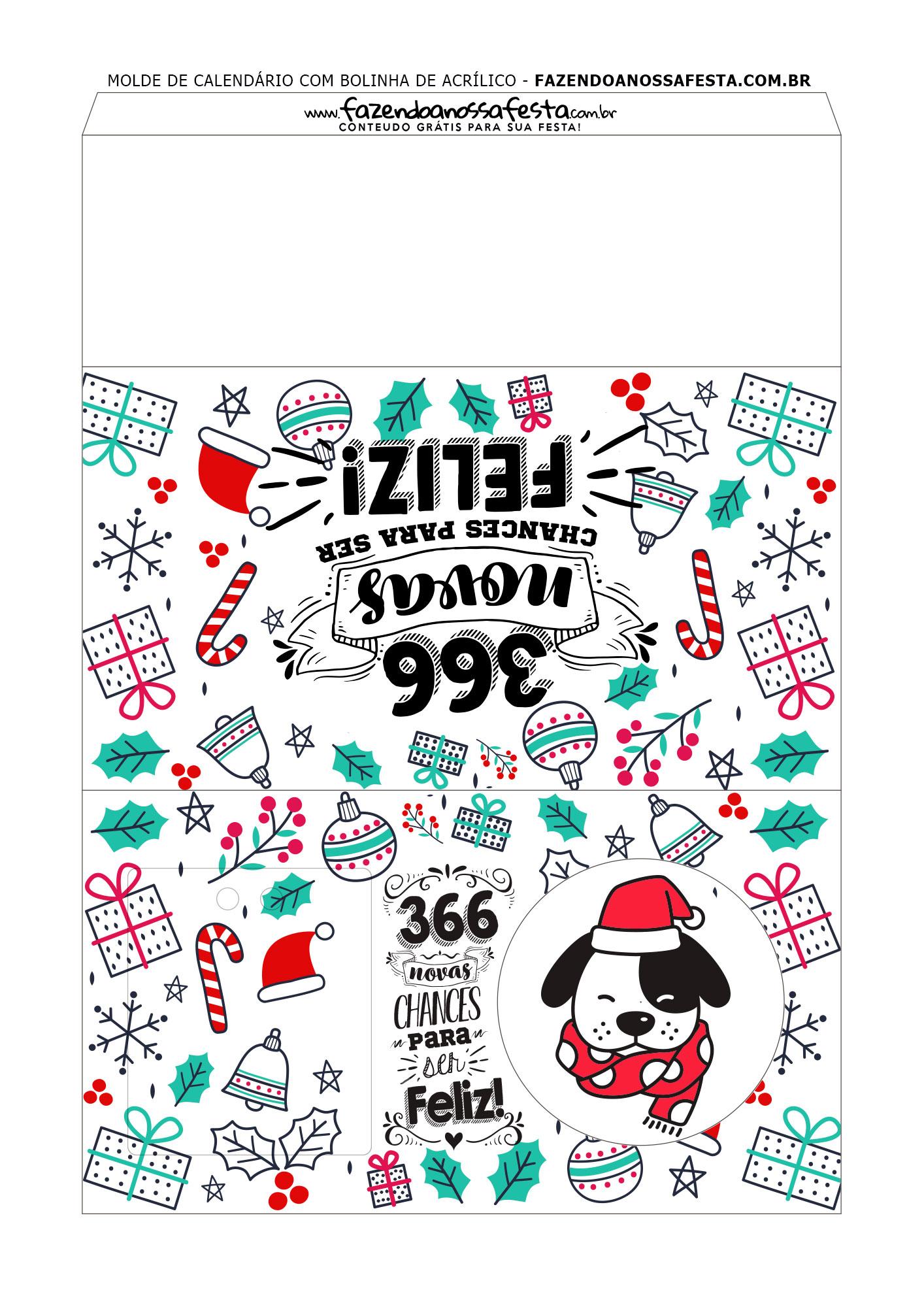 Calendario 2020 com bola de natal