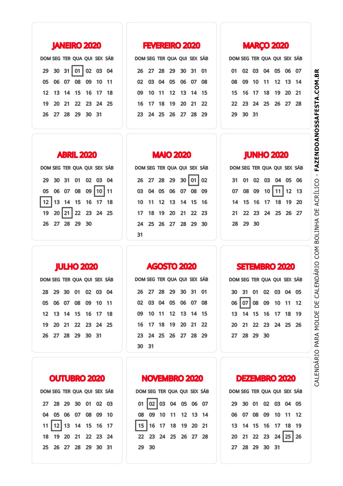 Calendario 2020 de mesa 1