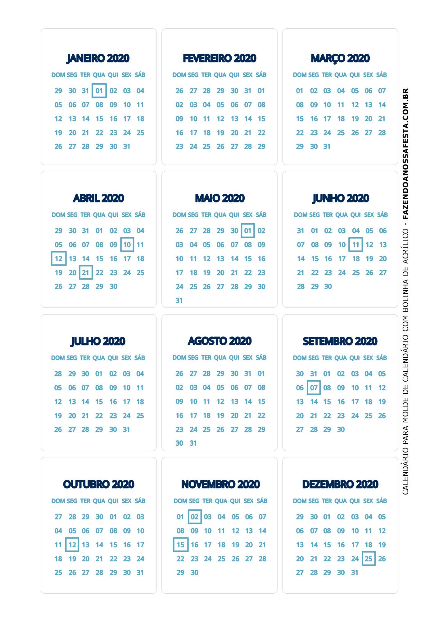 Calendario 2020 de mesa 4