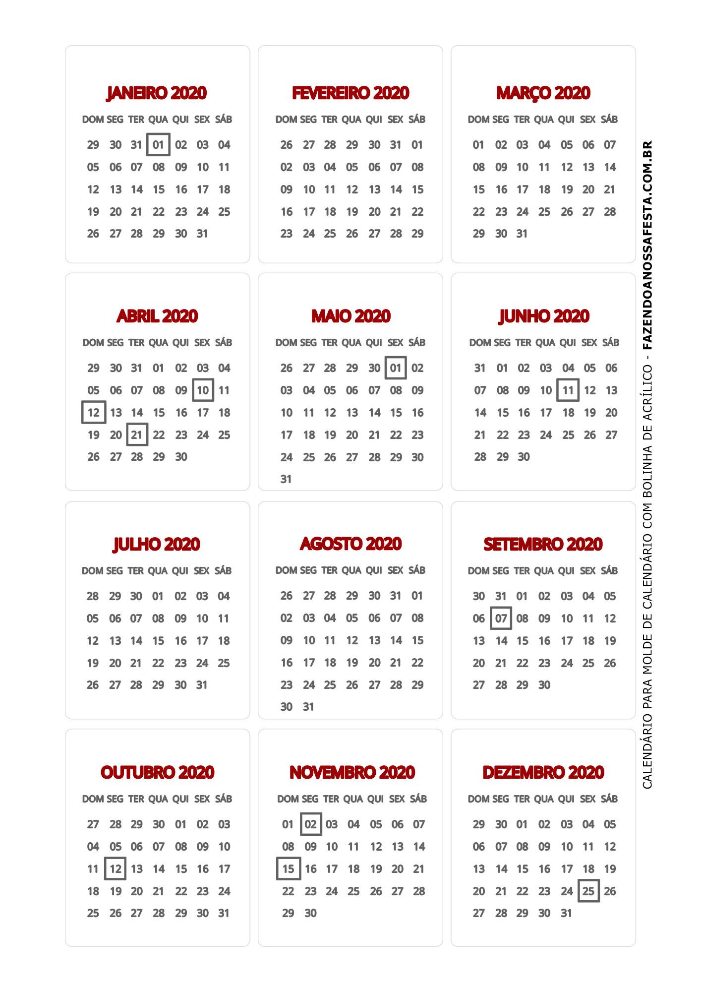 Calendario 2020 de mesa 5