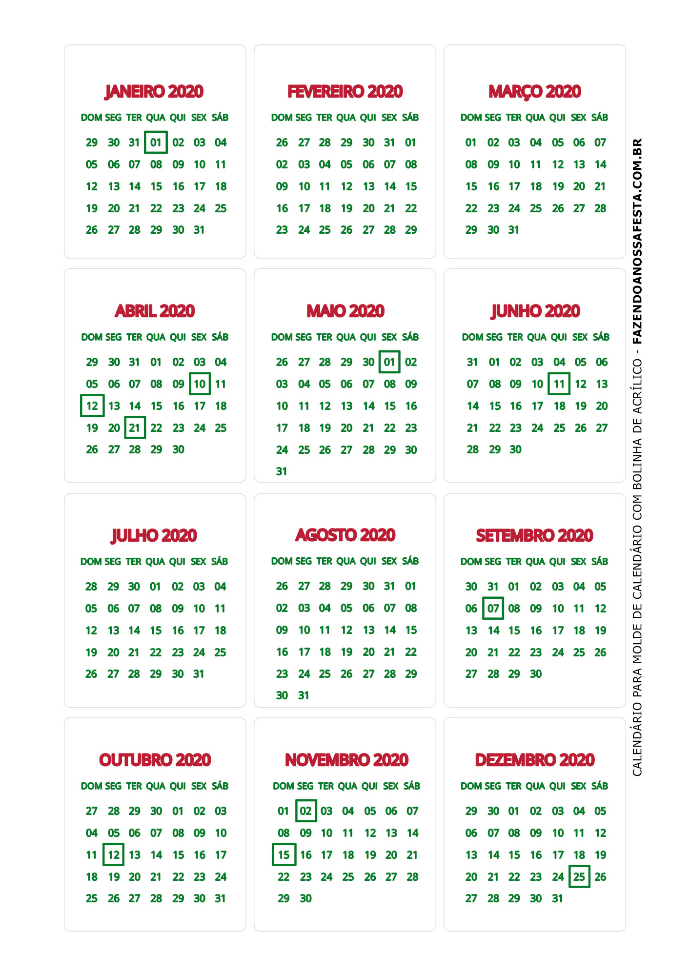 Calendario 2020 de mesa 8