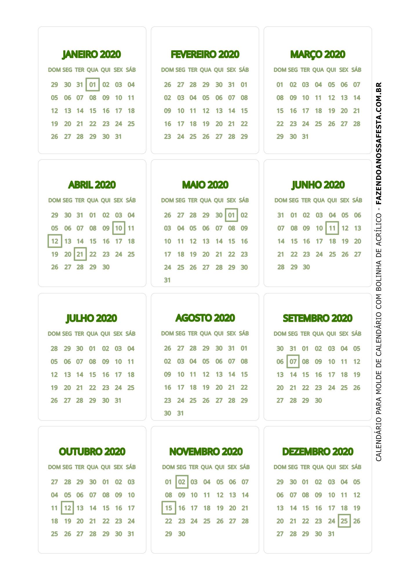 Calendario 2020 de mesa 9