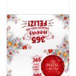 Calendario 2021 com bolinha de Natal branco e vermelho