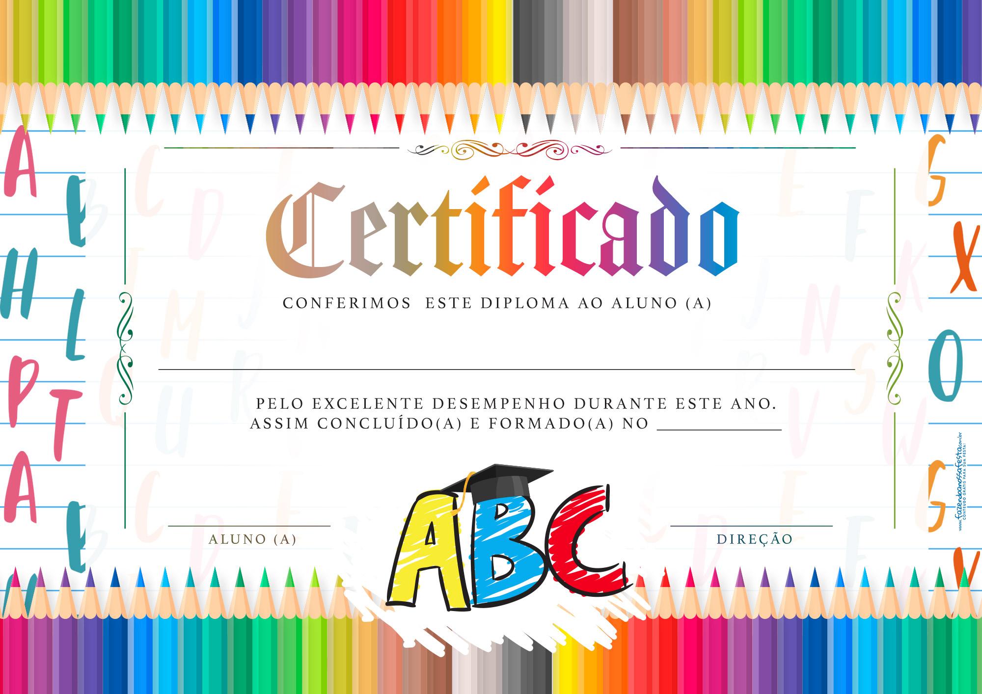 Certificado Formatura ABC para editar