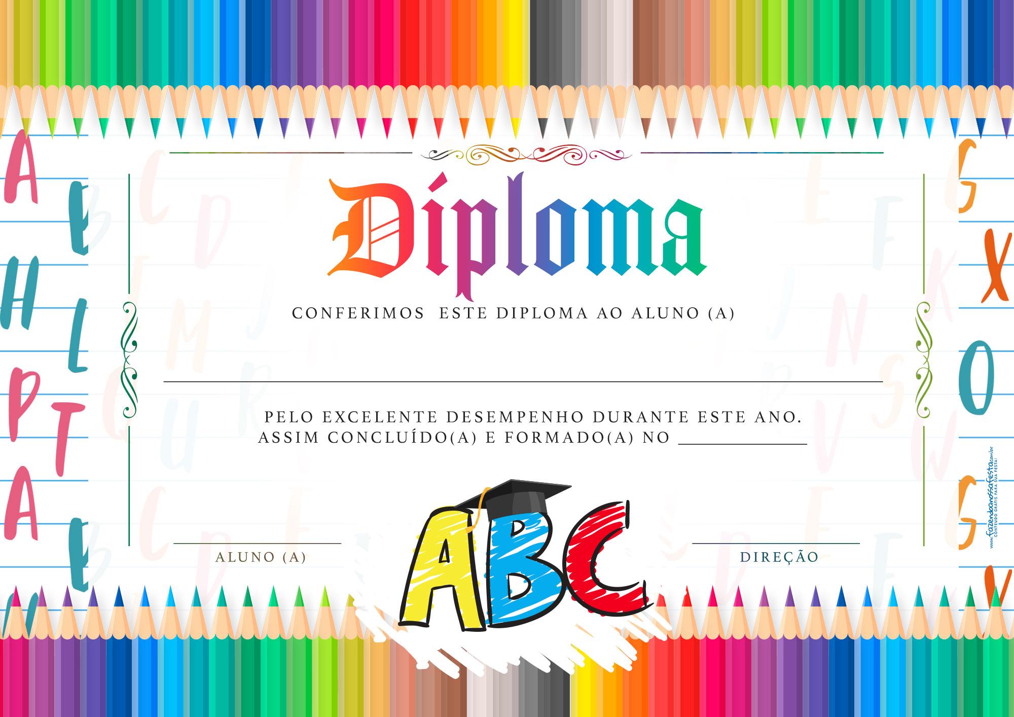 Diploma Formatura ABC gratis para editar