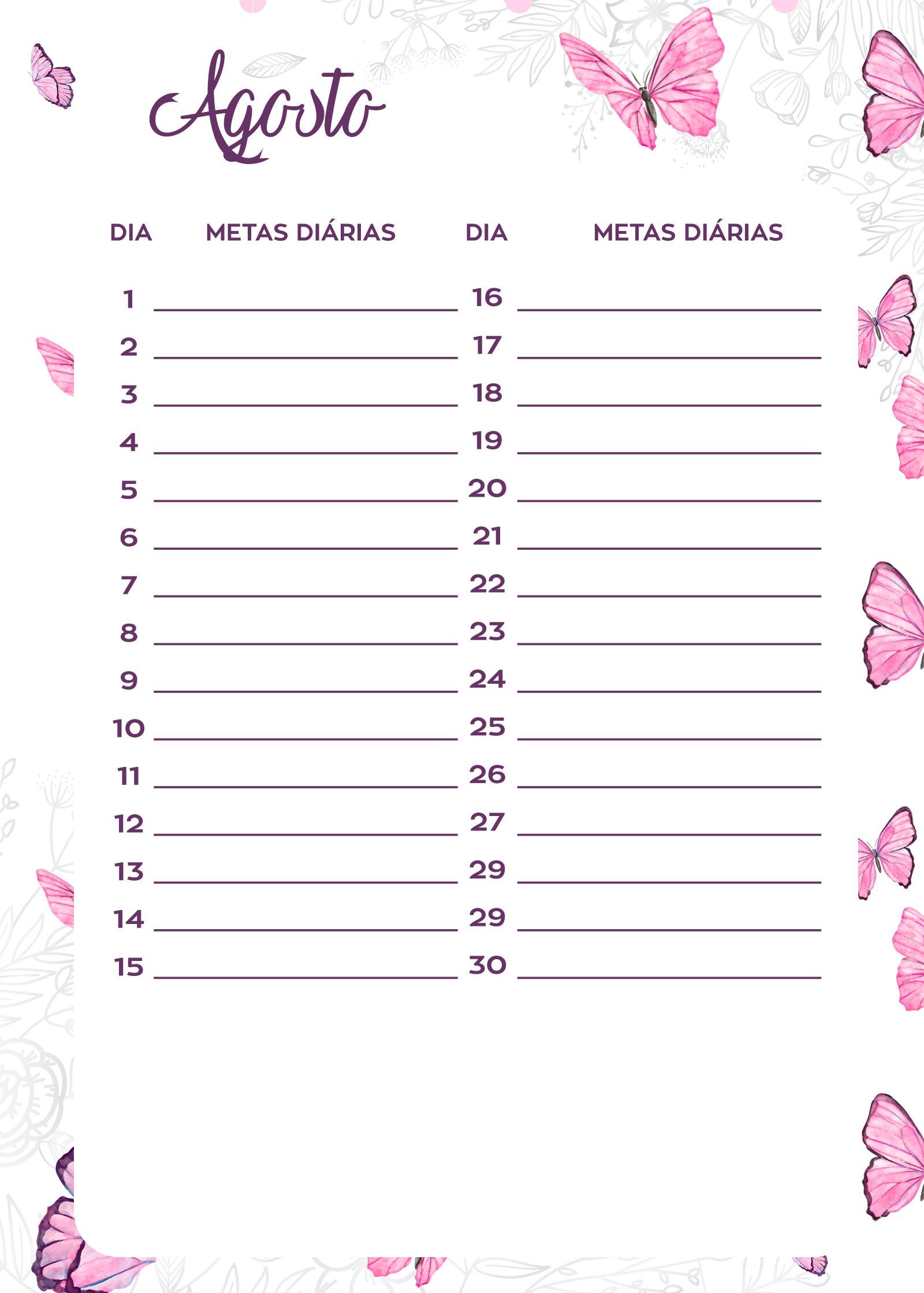 Planner Borboletas metas diarias agosto