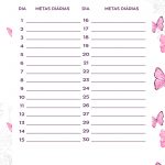 Planner Borboletas metas diarias dez