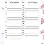 Planner Borboletas metas diarias fev