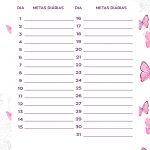 Planner Borboletas metas diarias julho