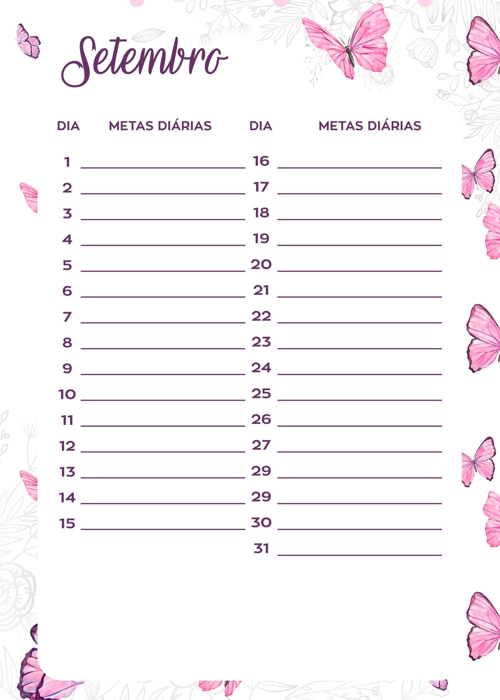 Planner Borboletas metas diarias set