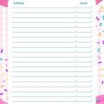 Planner Cupcake controle financeiro entradas