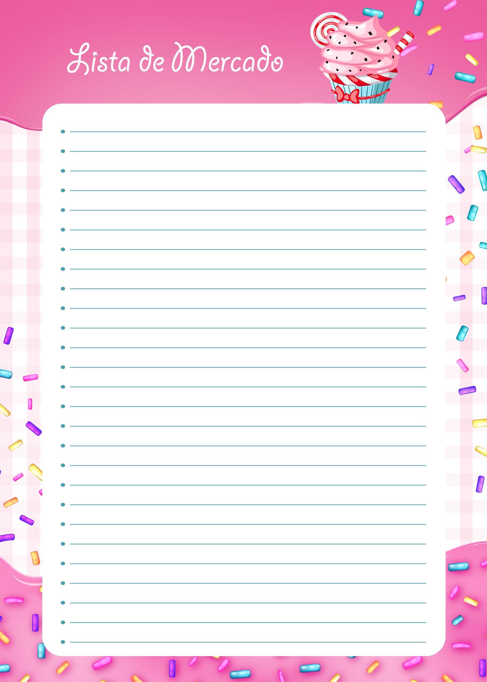 Planner Cupcake lista de mercado