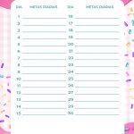 Planner Cupcake metas diarias agosto