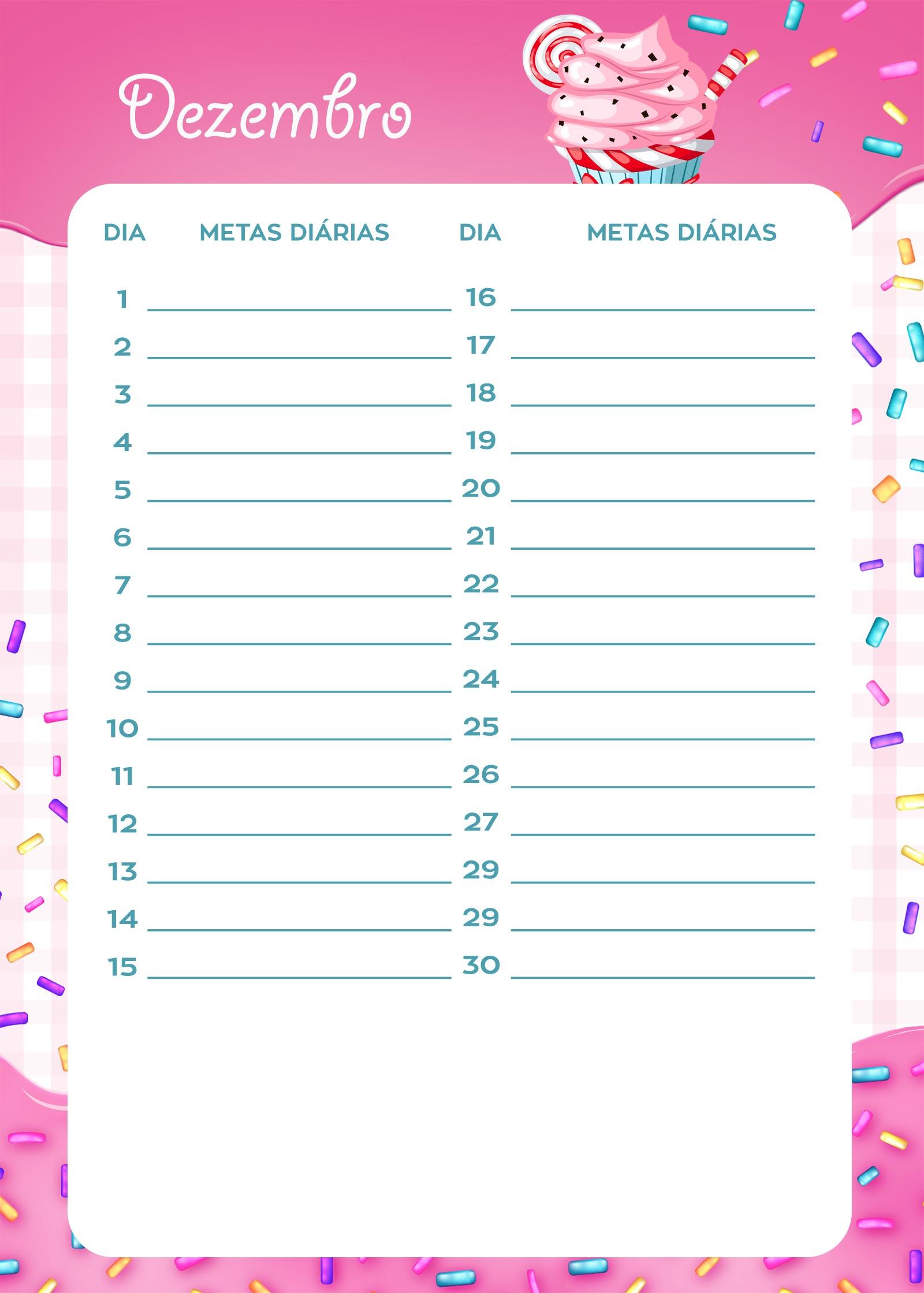 Planner Cupcake metas diarias dezembro