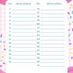 Planner Cupcake metas diarias janeiro
