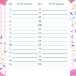 Planner Cupcake metas diarias junho