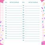Planner Cupcake metas diarias maio