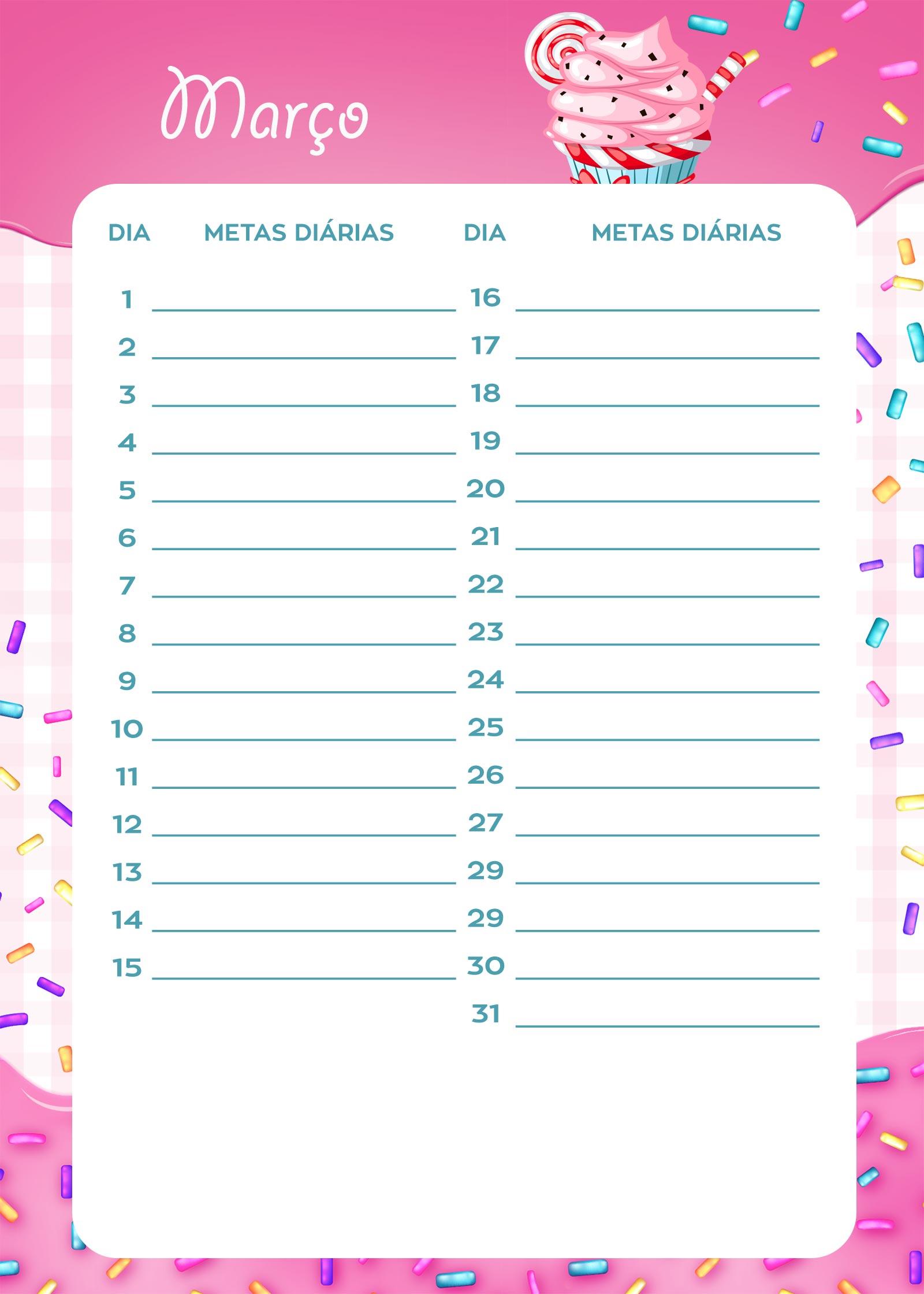 Planner Cupcake metas diarias marco