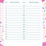 Planner Cupcake metas diarias outubro
