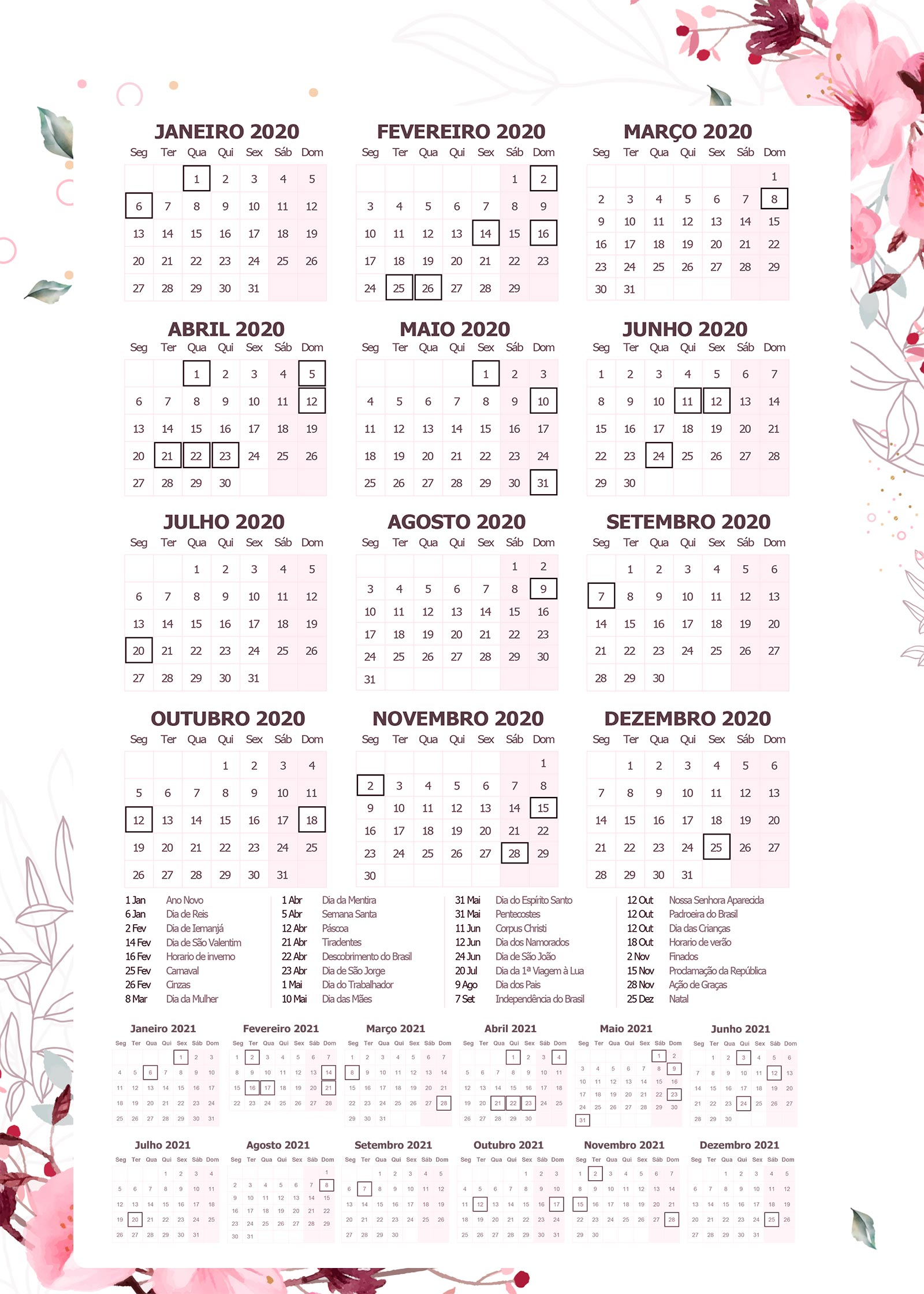 Planner Floral calendario 2020