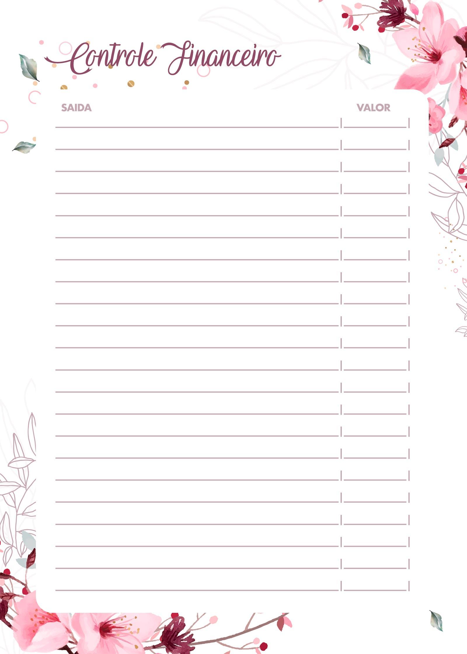Planner Floral controle financeiro