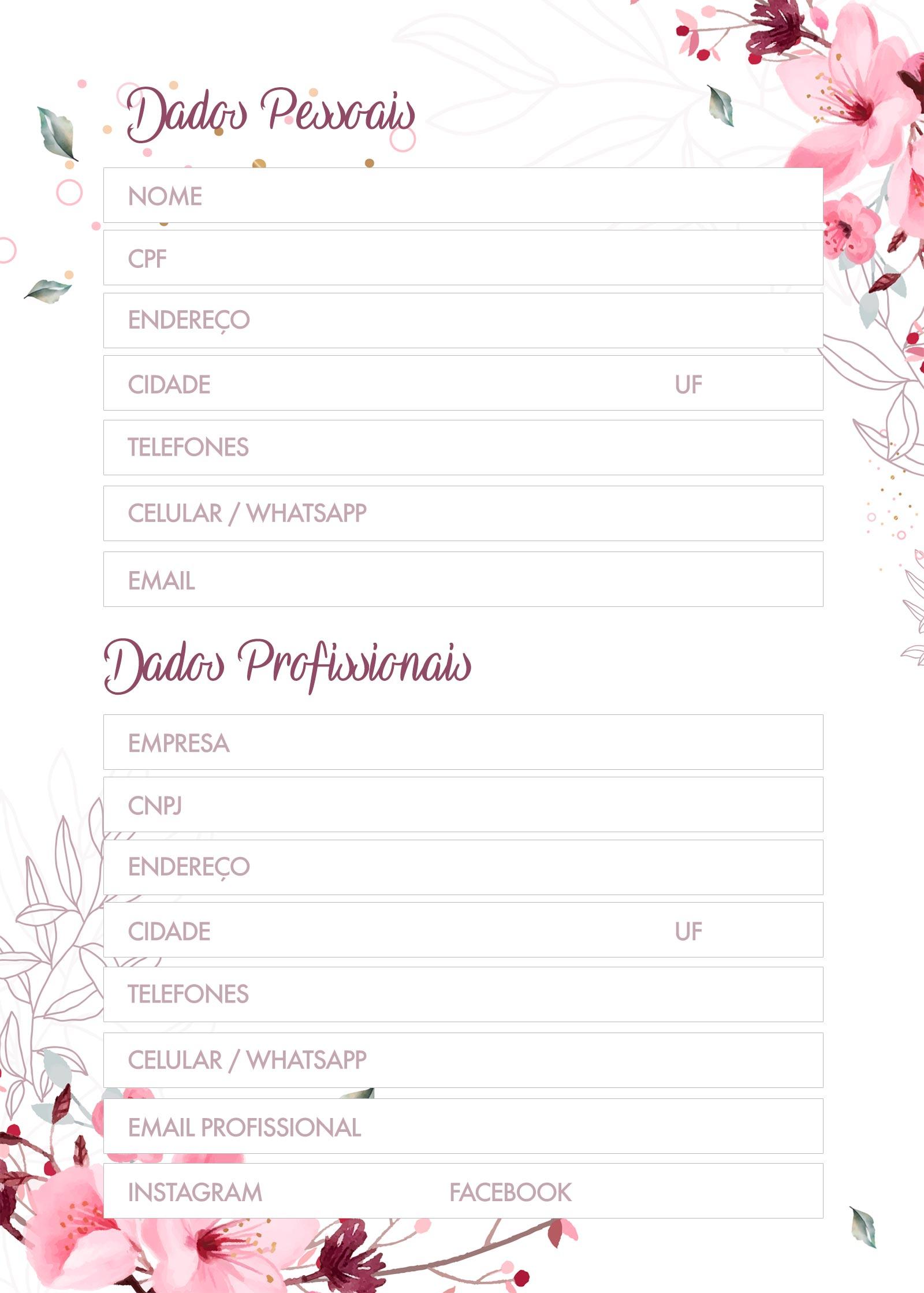Planner Floral dados pessoais