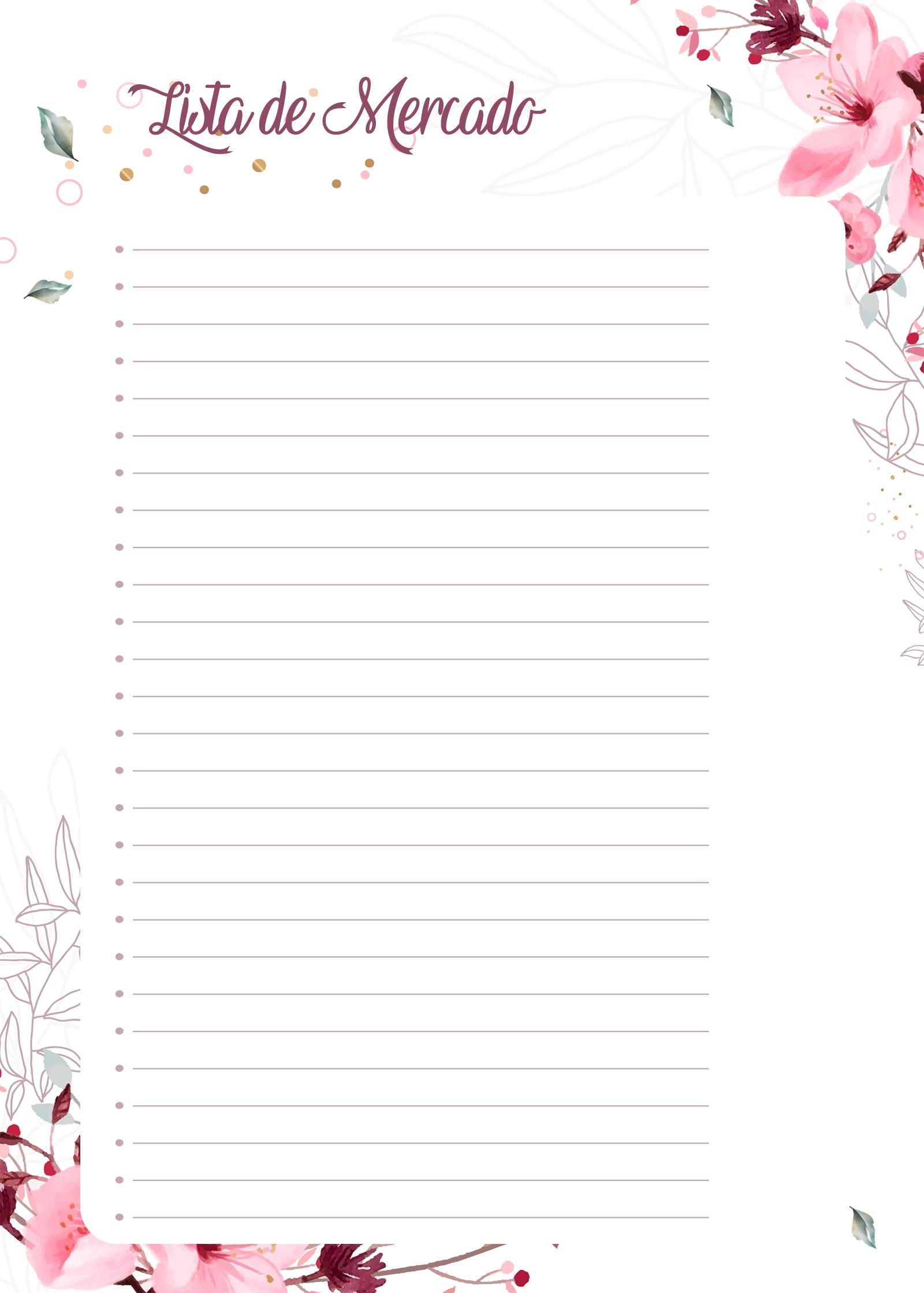 Planner Floral lista de mercado