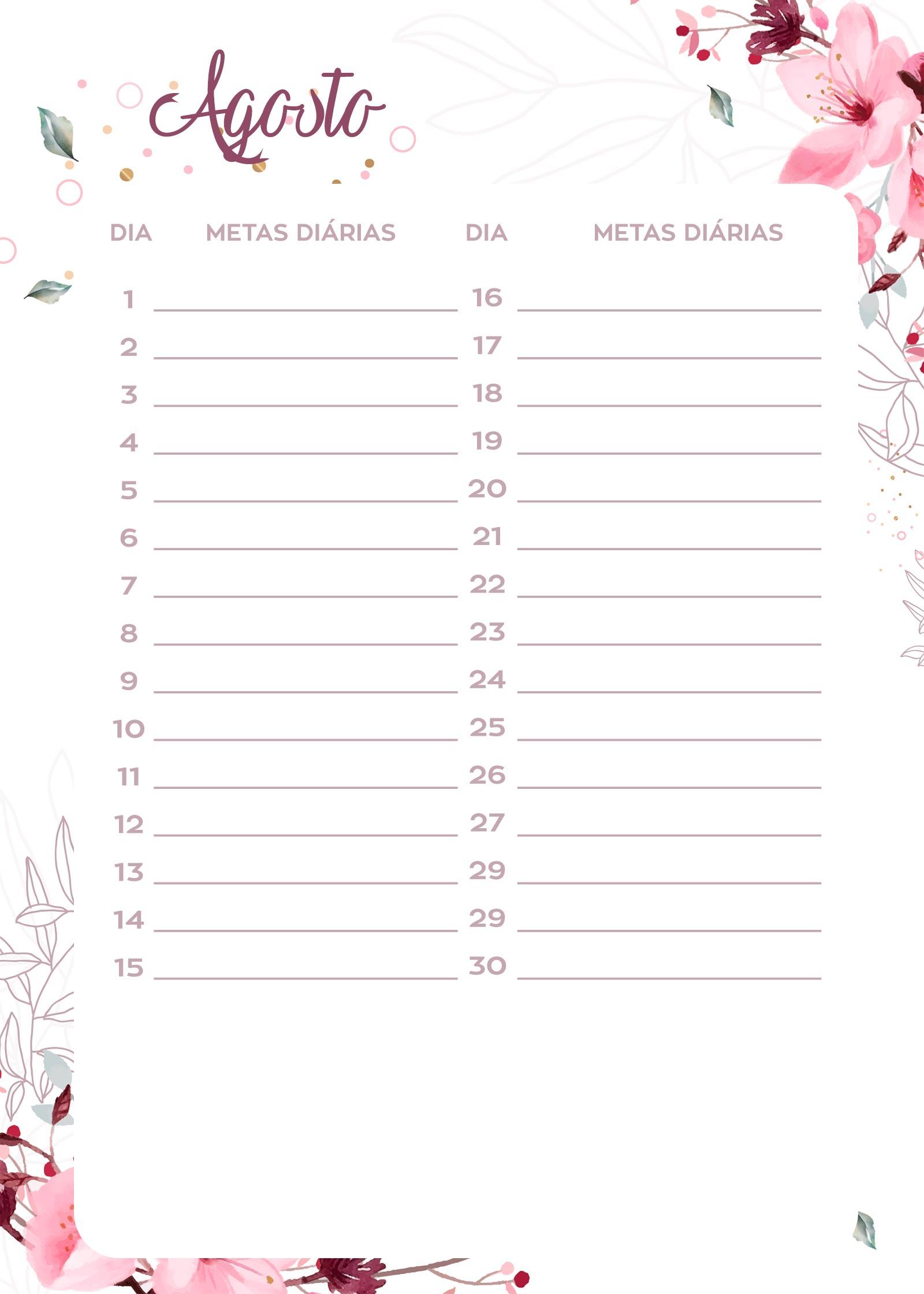 Planner Floral metas diarias agosto