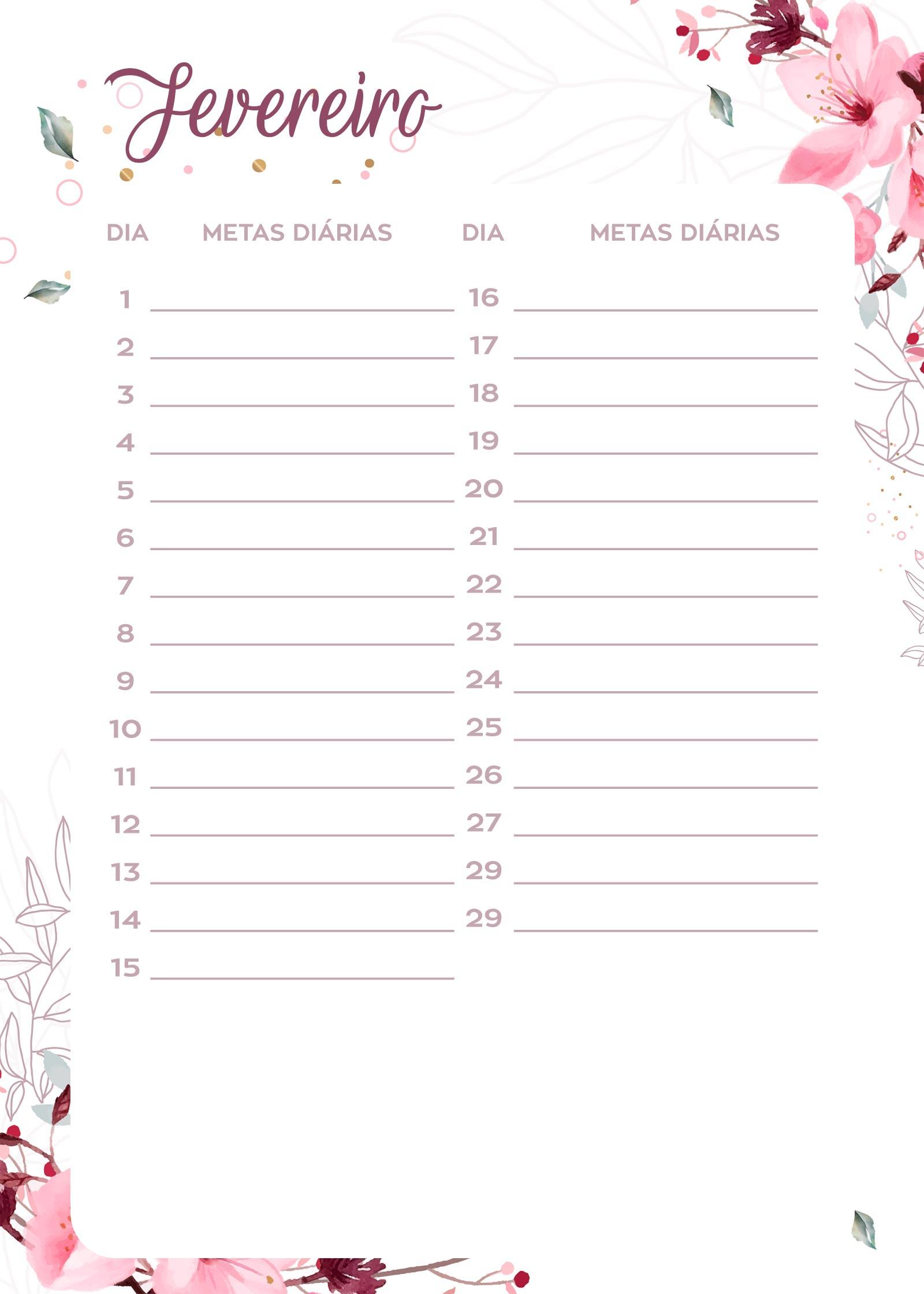 Planner Floral metas diarias fev