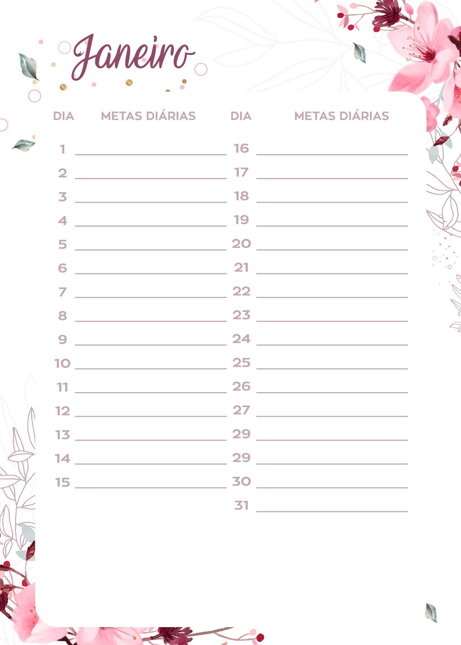 Planner Floral metas diarias jan