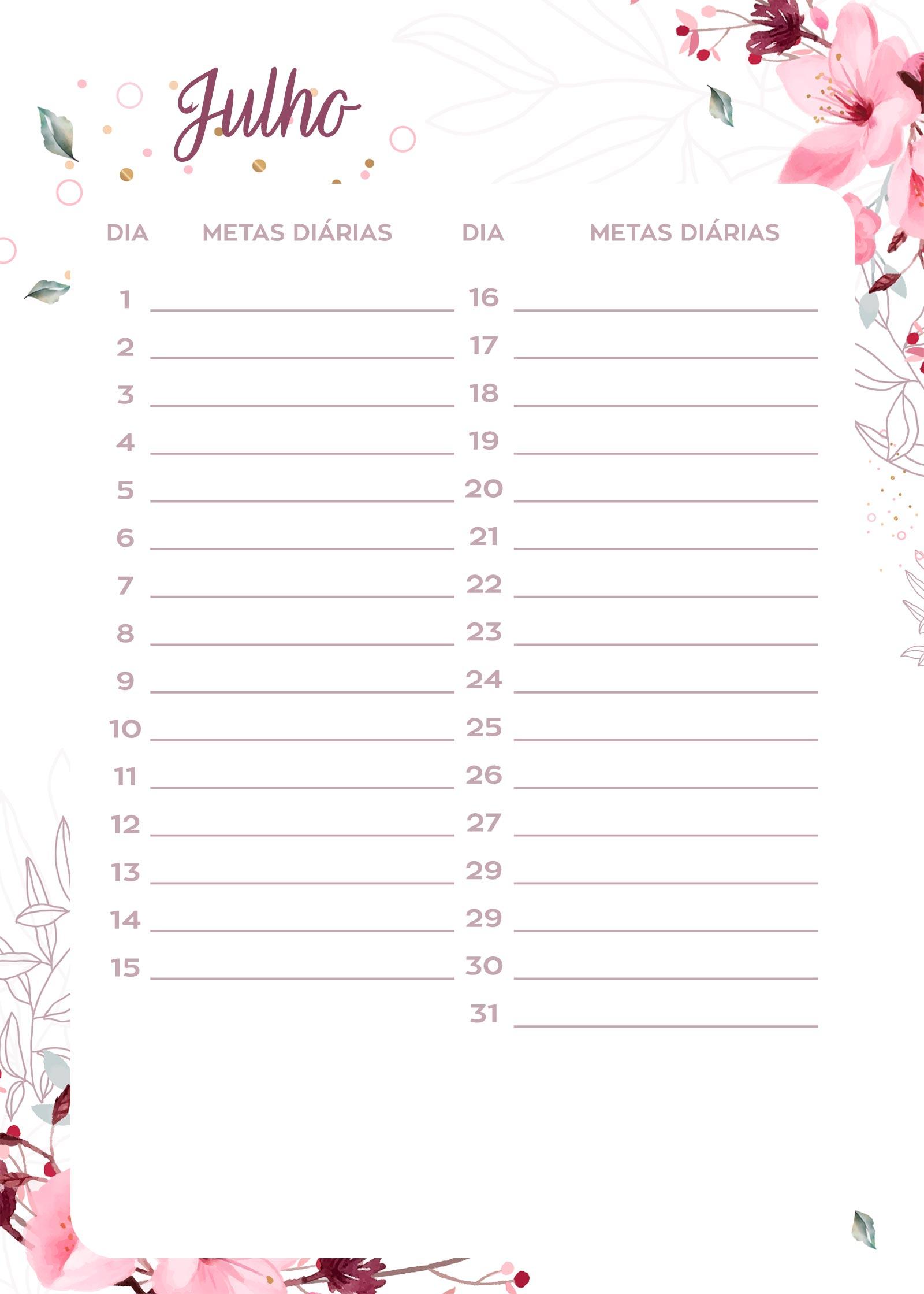 Planner Floral metas diarias julho
