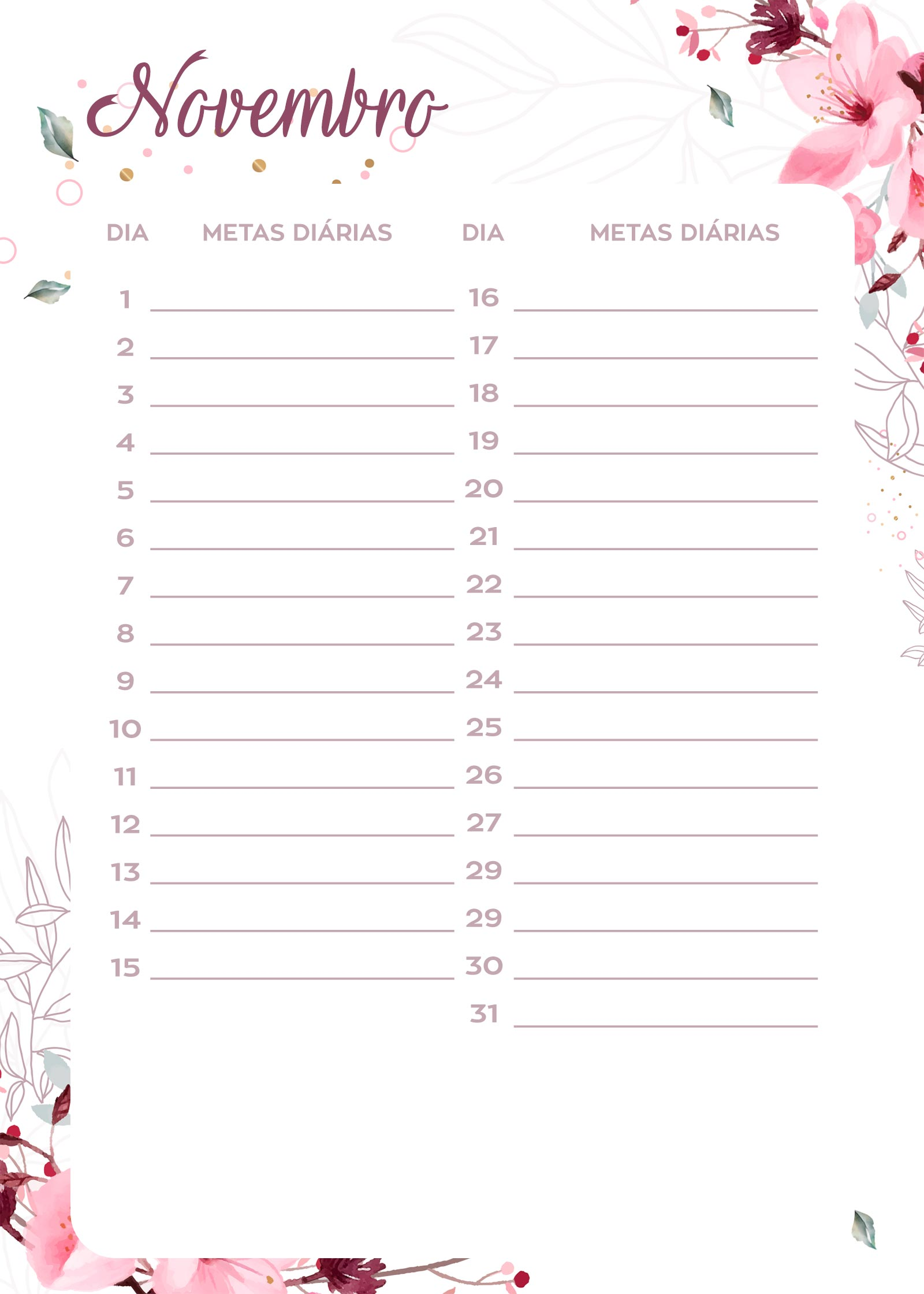 Planner Floral metas diarias nov