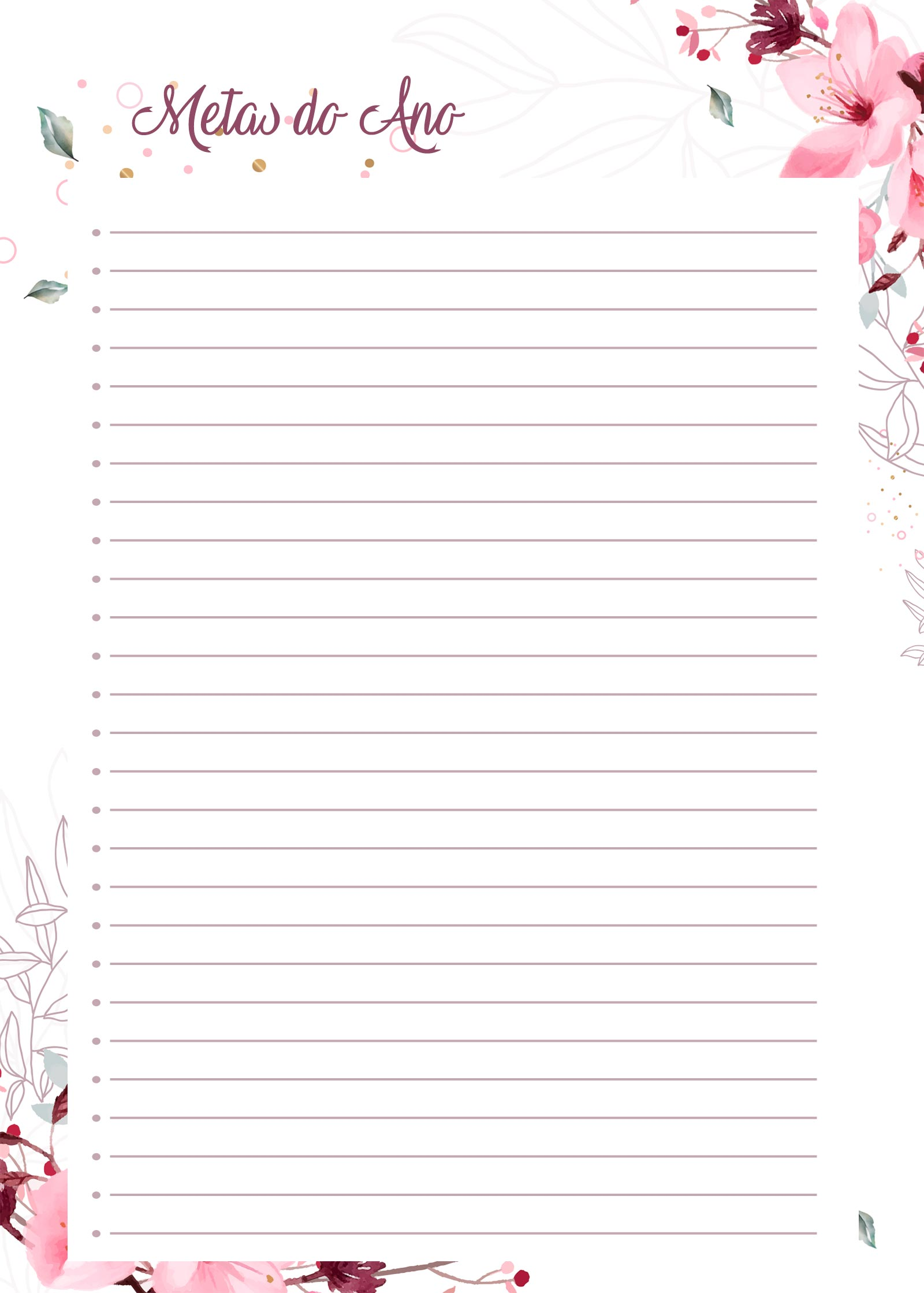 Planner Floral metas do ano