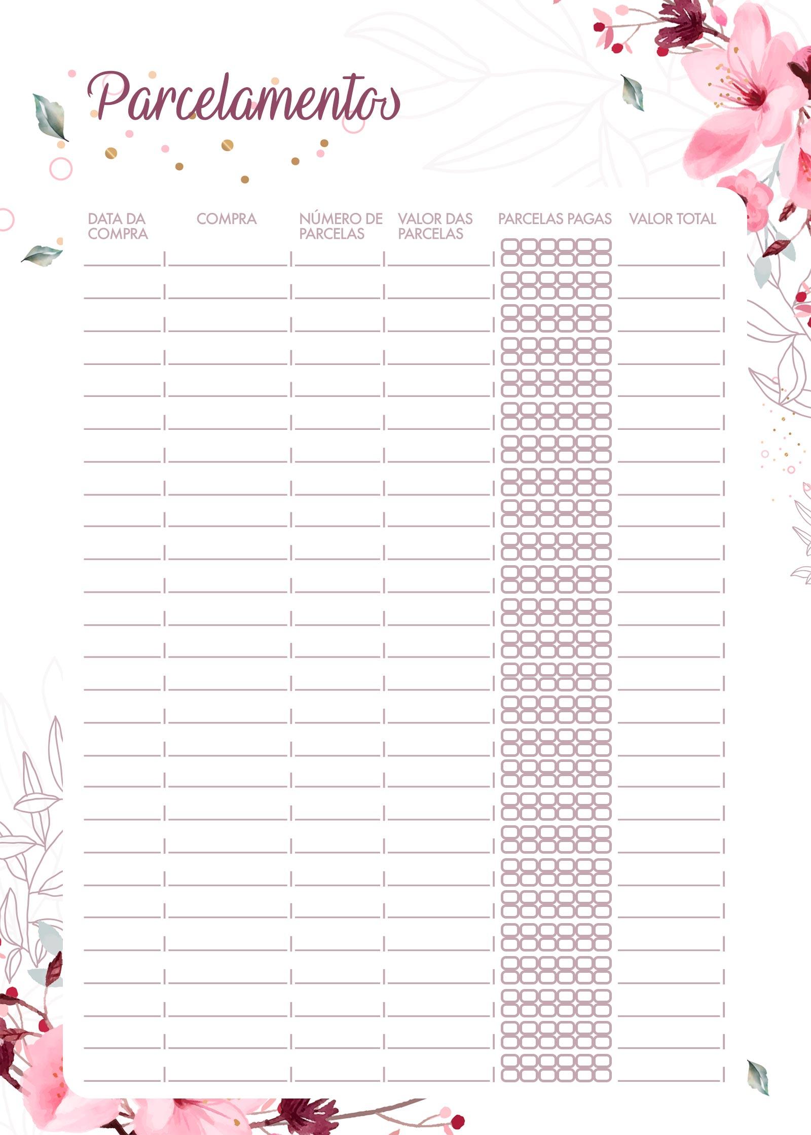 Planner Floral parcelamentos