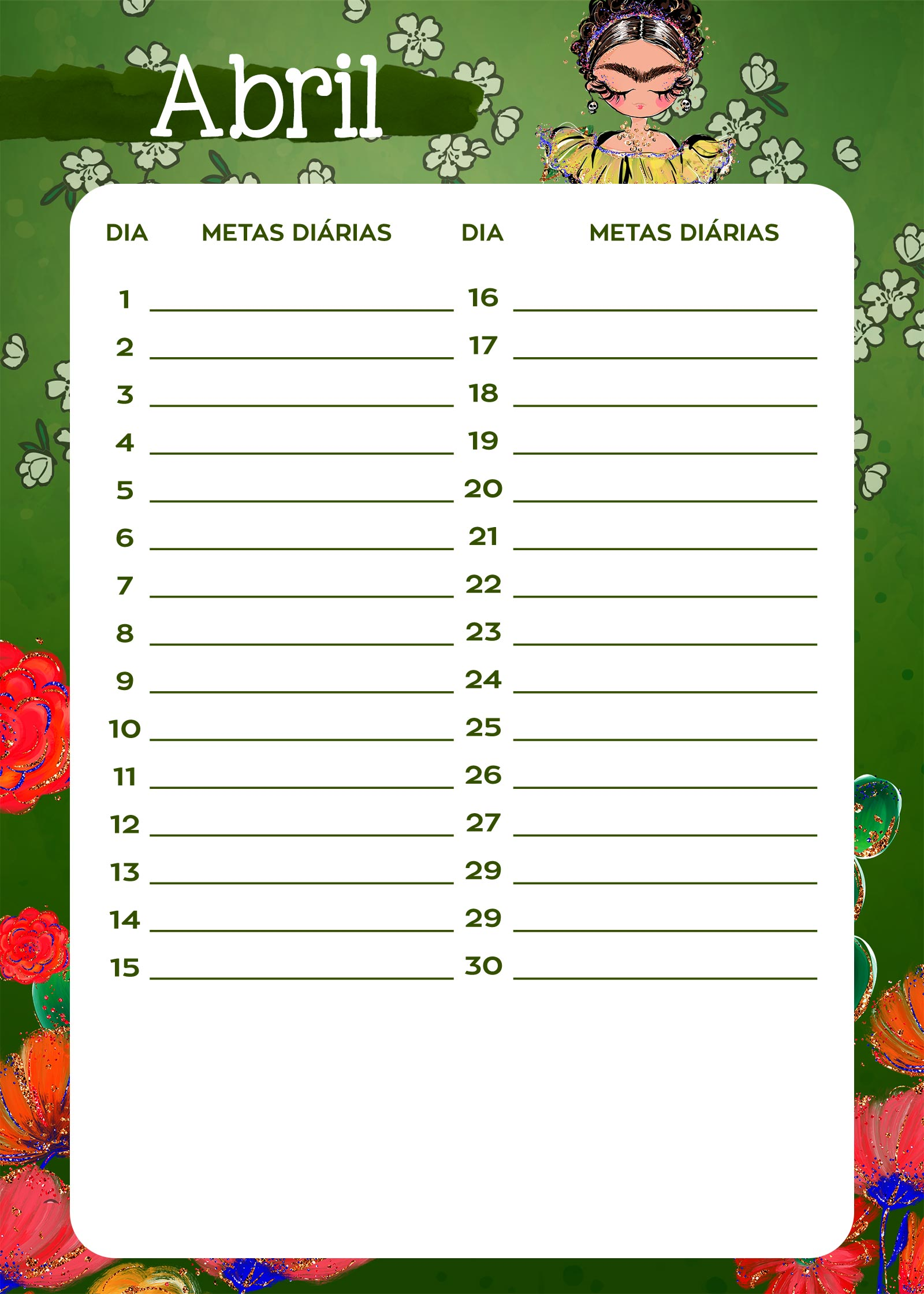 Planner Frida metas diarias abril