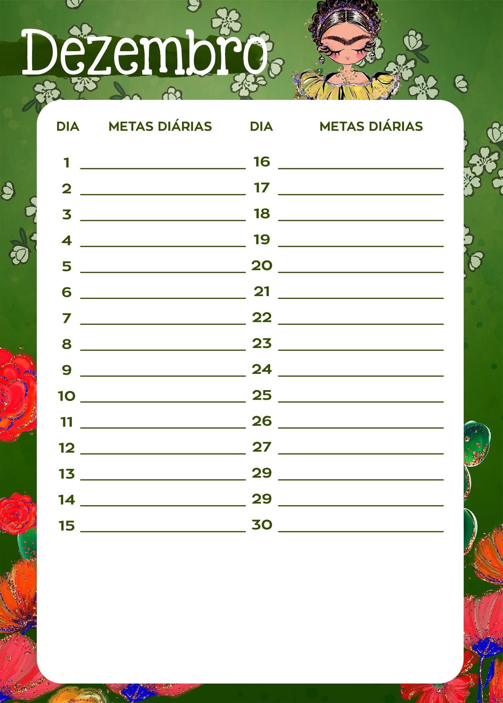 Planner Frida metas diarias dez