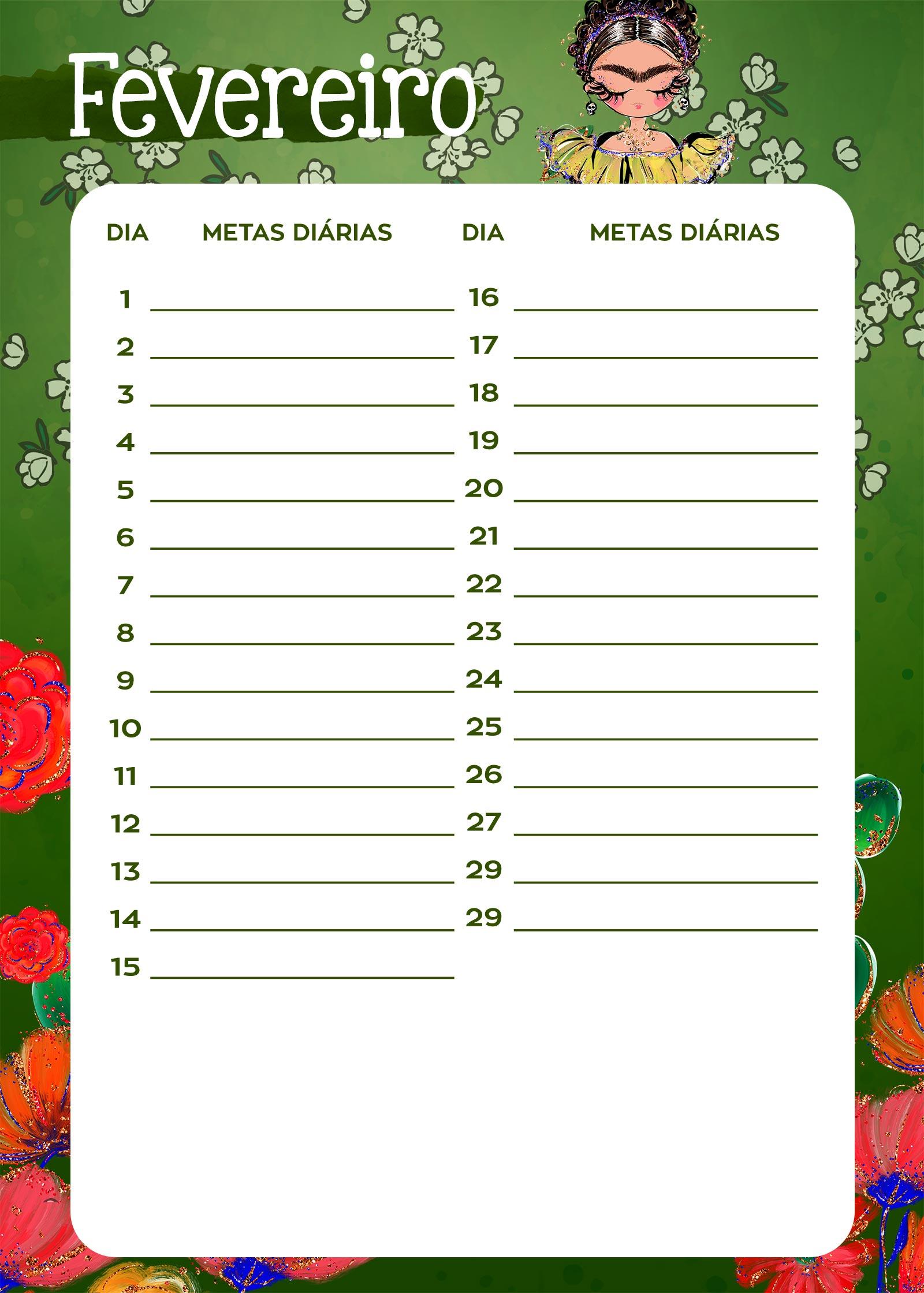 Planner Frida metas diarias fevereiro