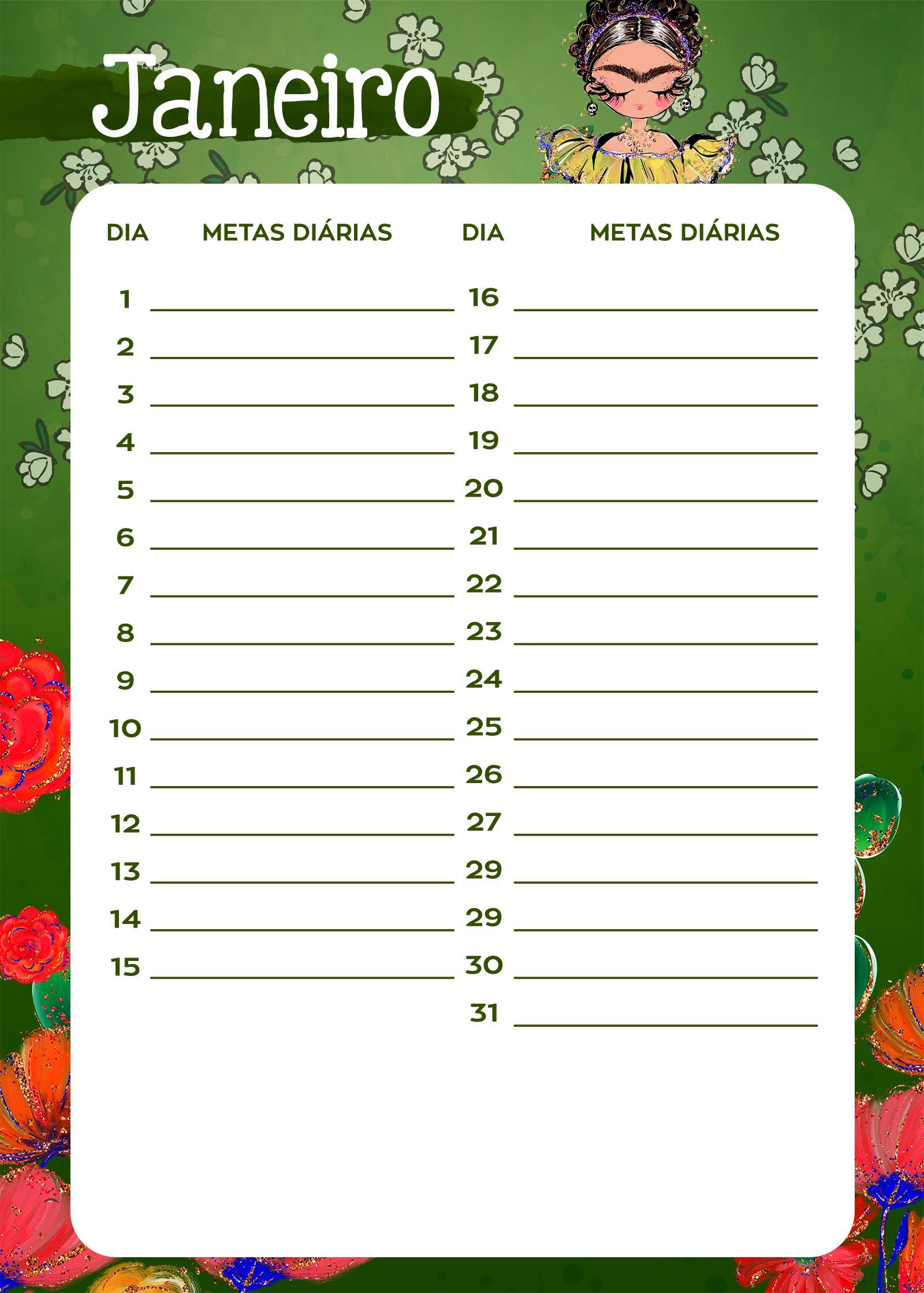 Planner Frida metas diarias jan