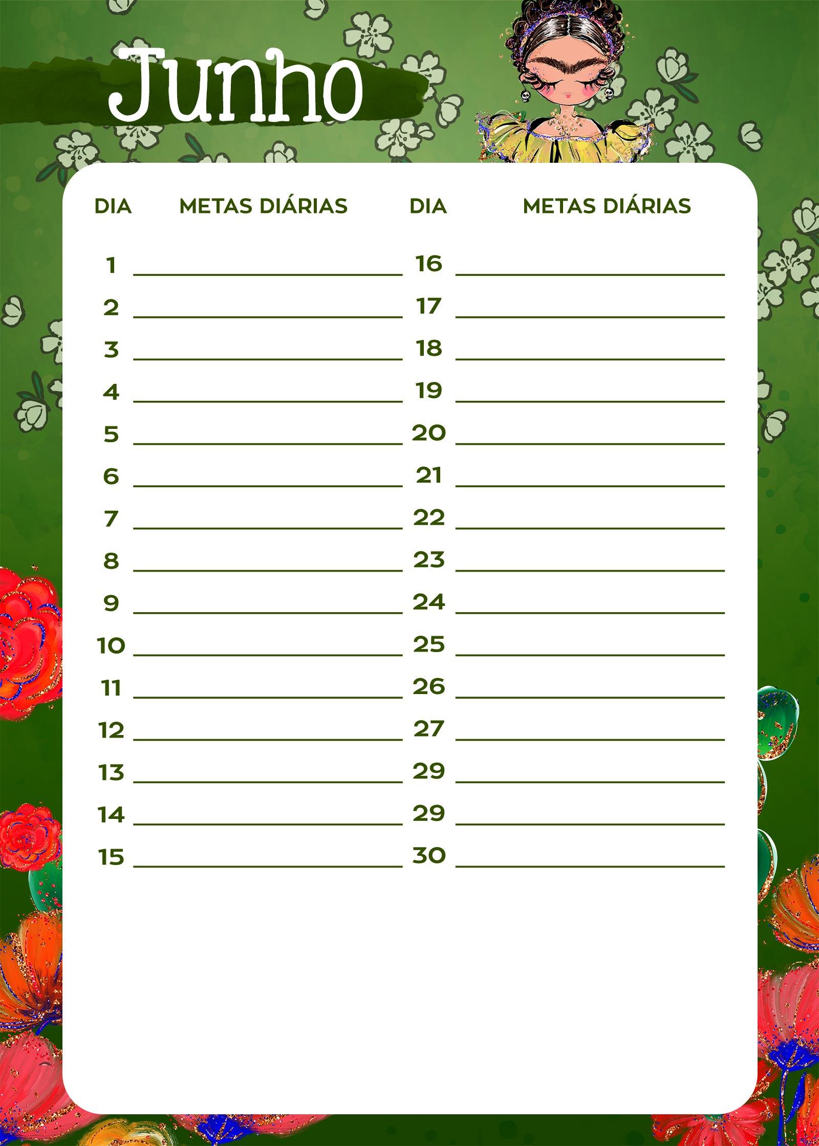 Planner Frida metas diarias junho