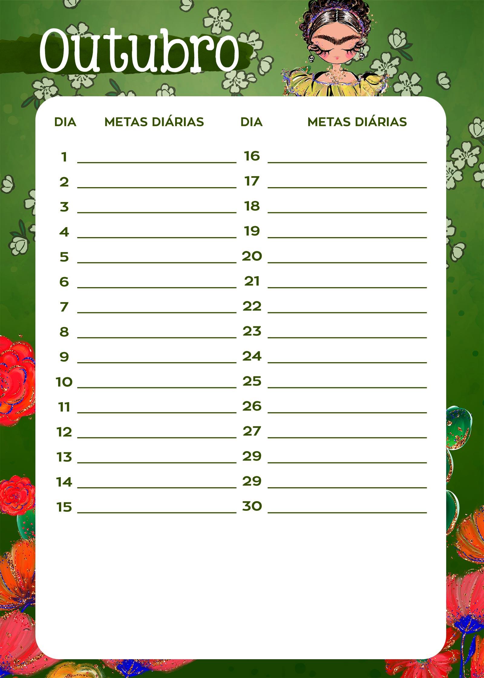 Planner Frida metas diarias outubro