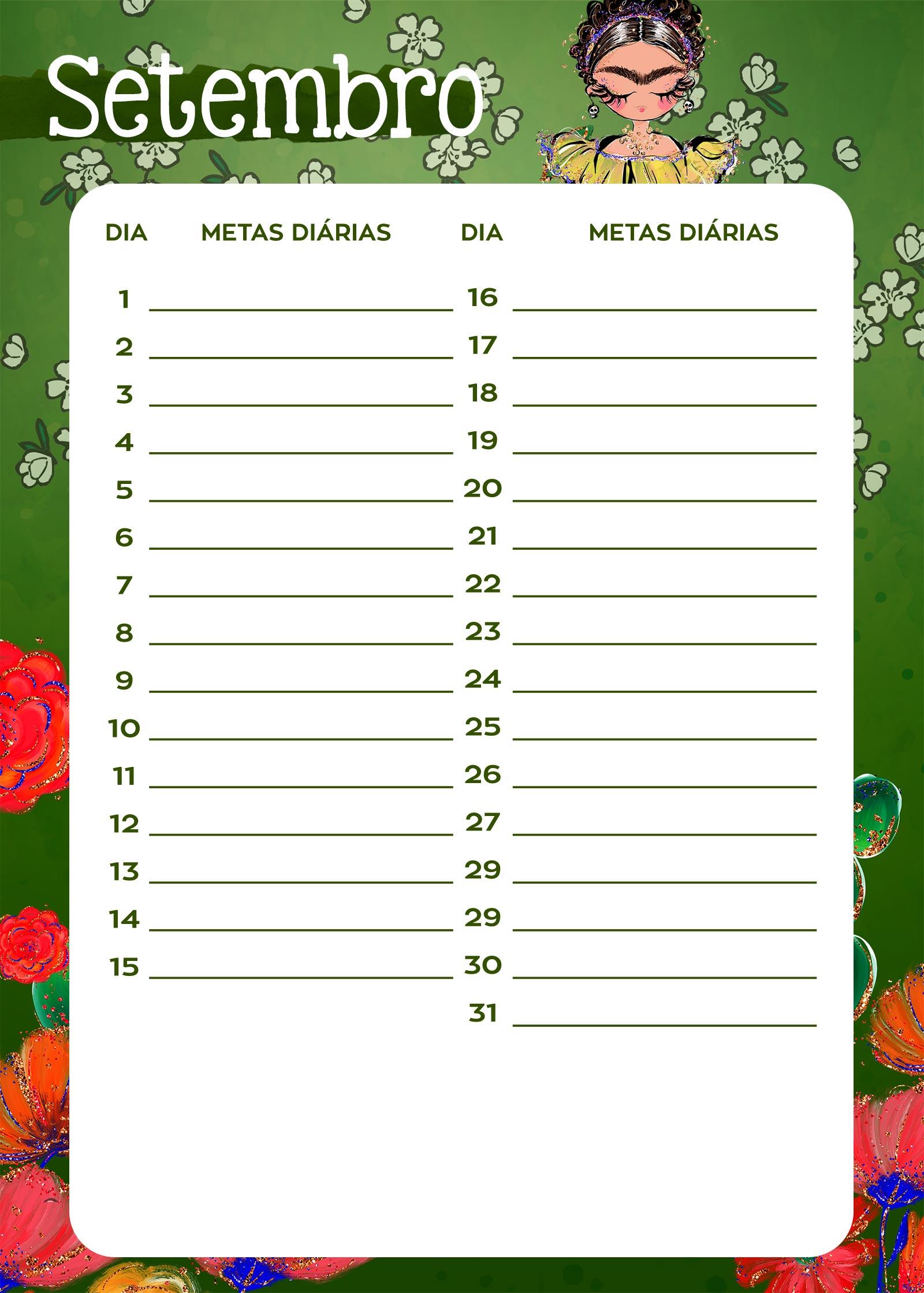 Planner Frida metas diarias set