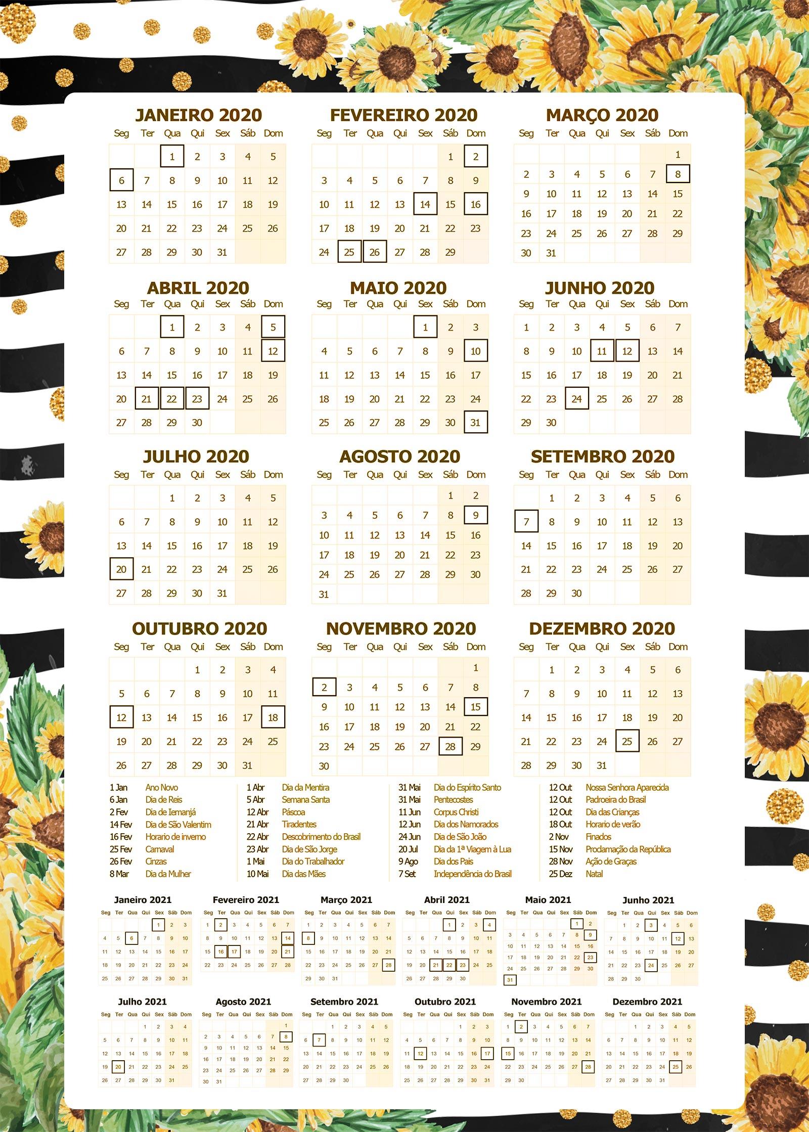 Planner Girassol calendario 2020