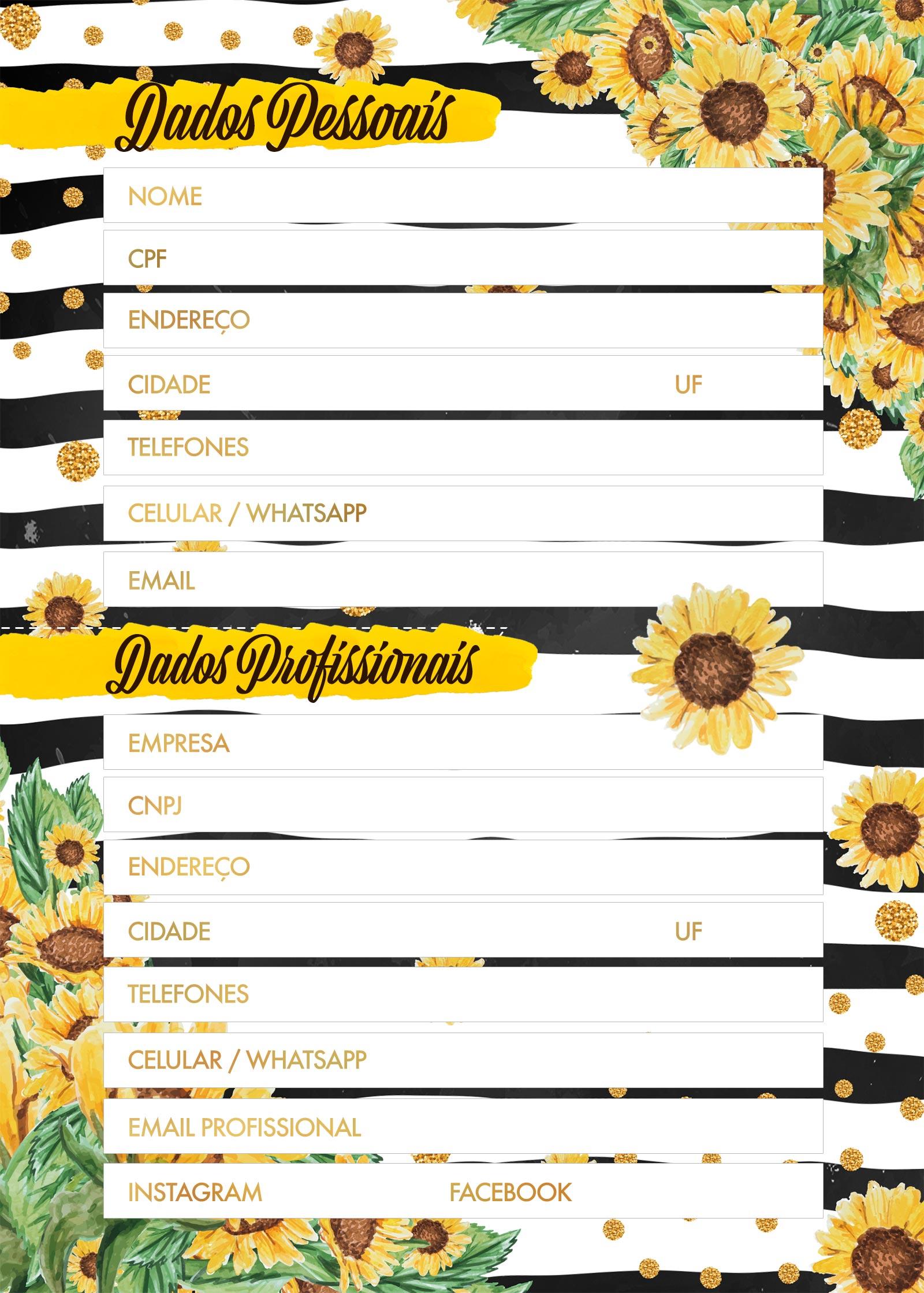 Planner Girassol dados pessoais